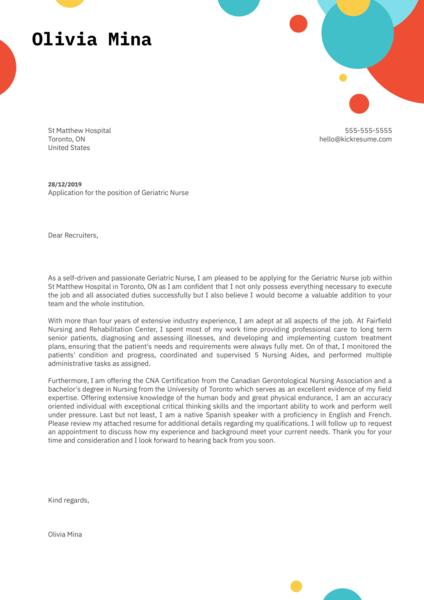 Geriatric Nurse Cover Letter Example