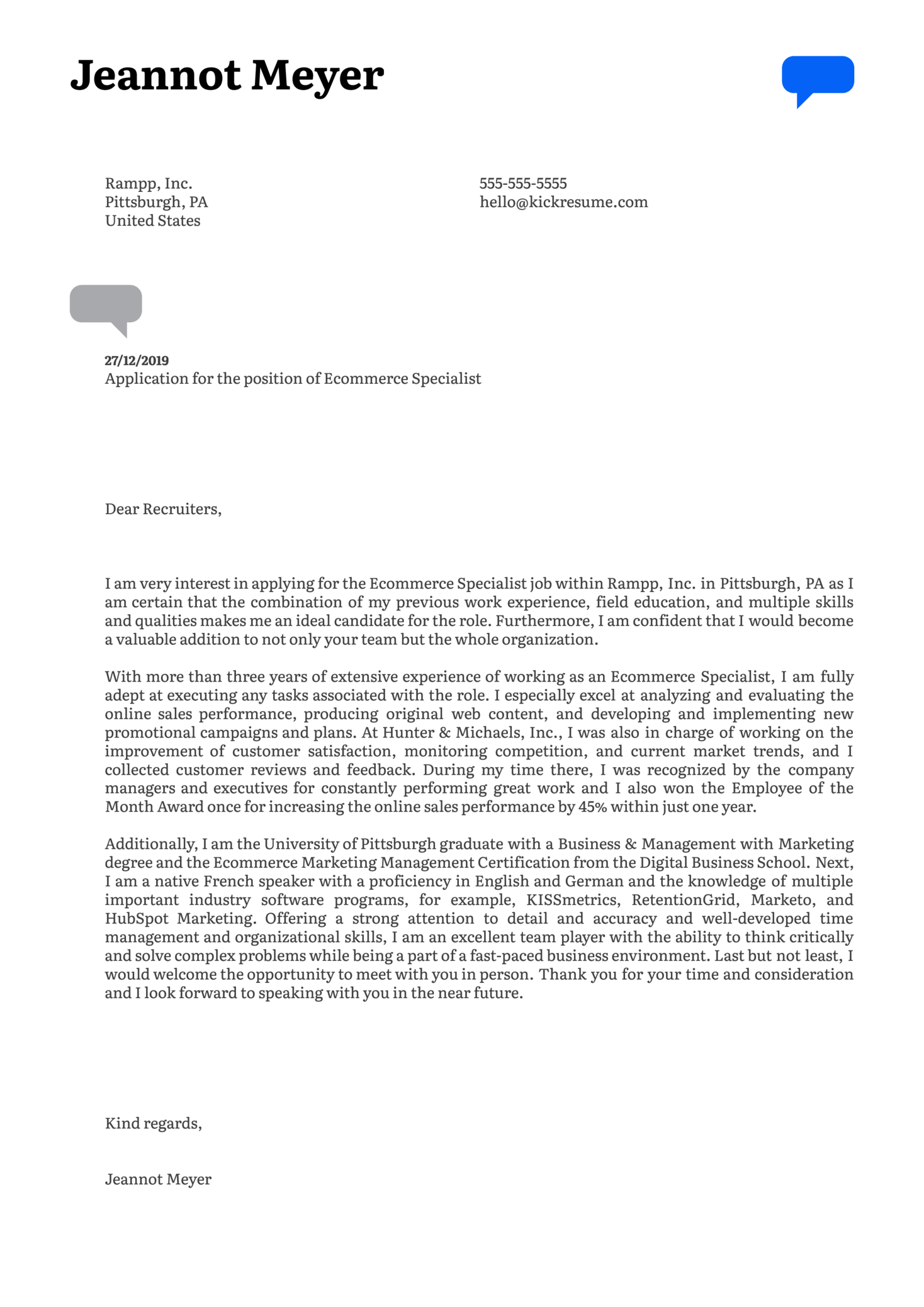 Ecommerce Specialist Cover Letter Example