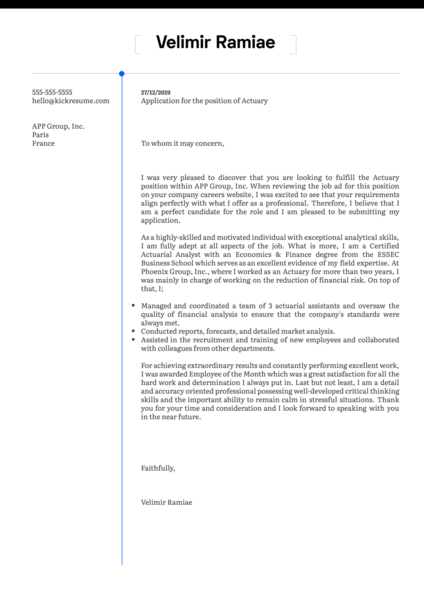 Actuary Cover Letter Template