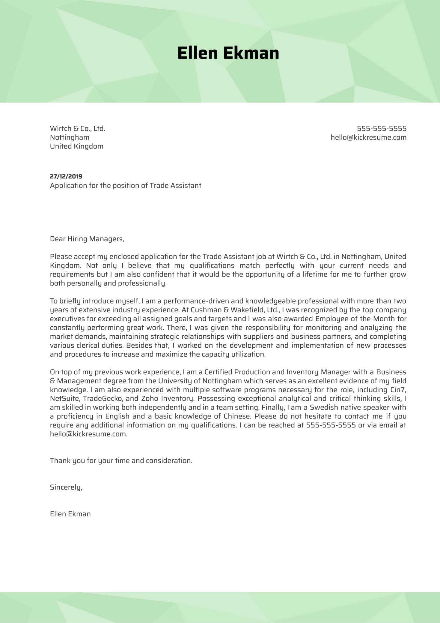 Trade Assistant Cover Letter Example