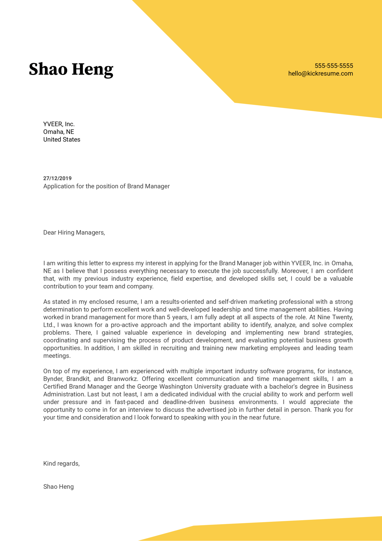 Brand Manager Cover Letter Example