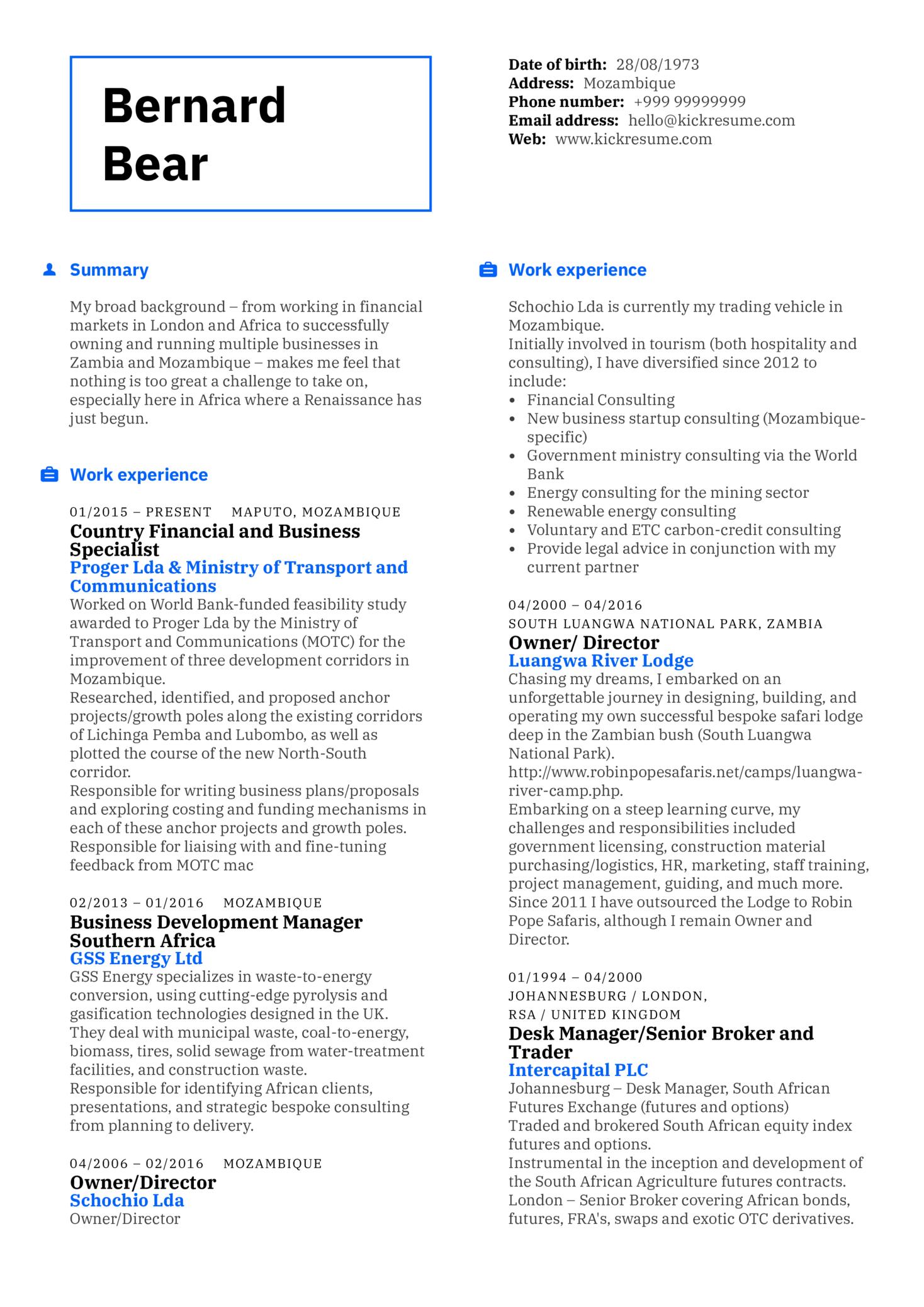 Business Specialist Resume Sample (parte 1)