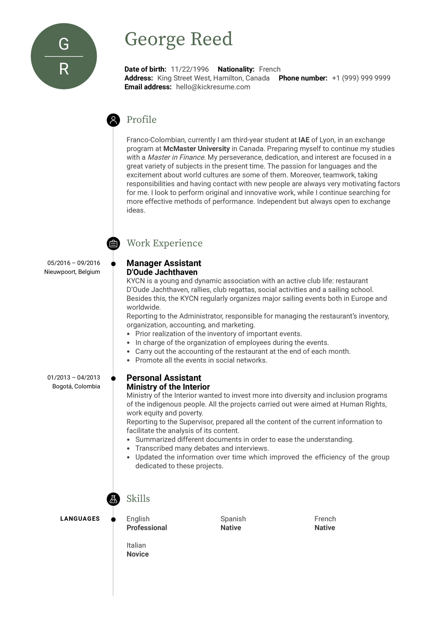 Manager Assistant Resume Template (parte 1)