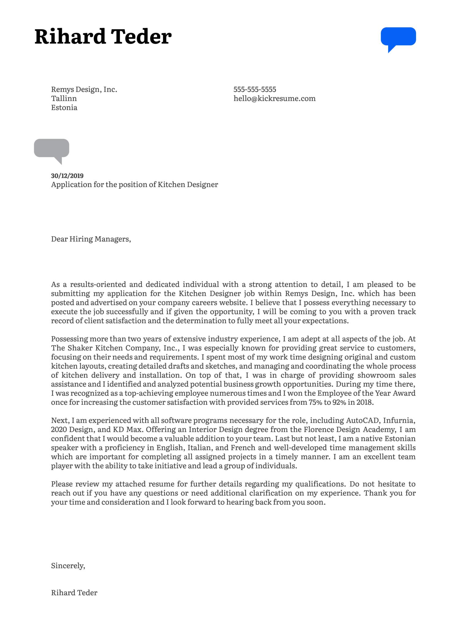 Kitchen Designer Cover Letter Sample