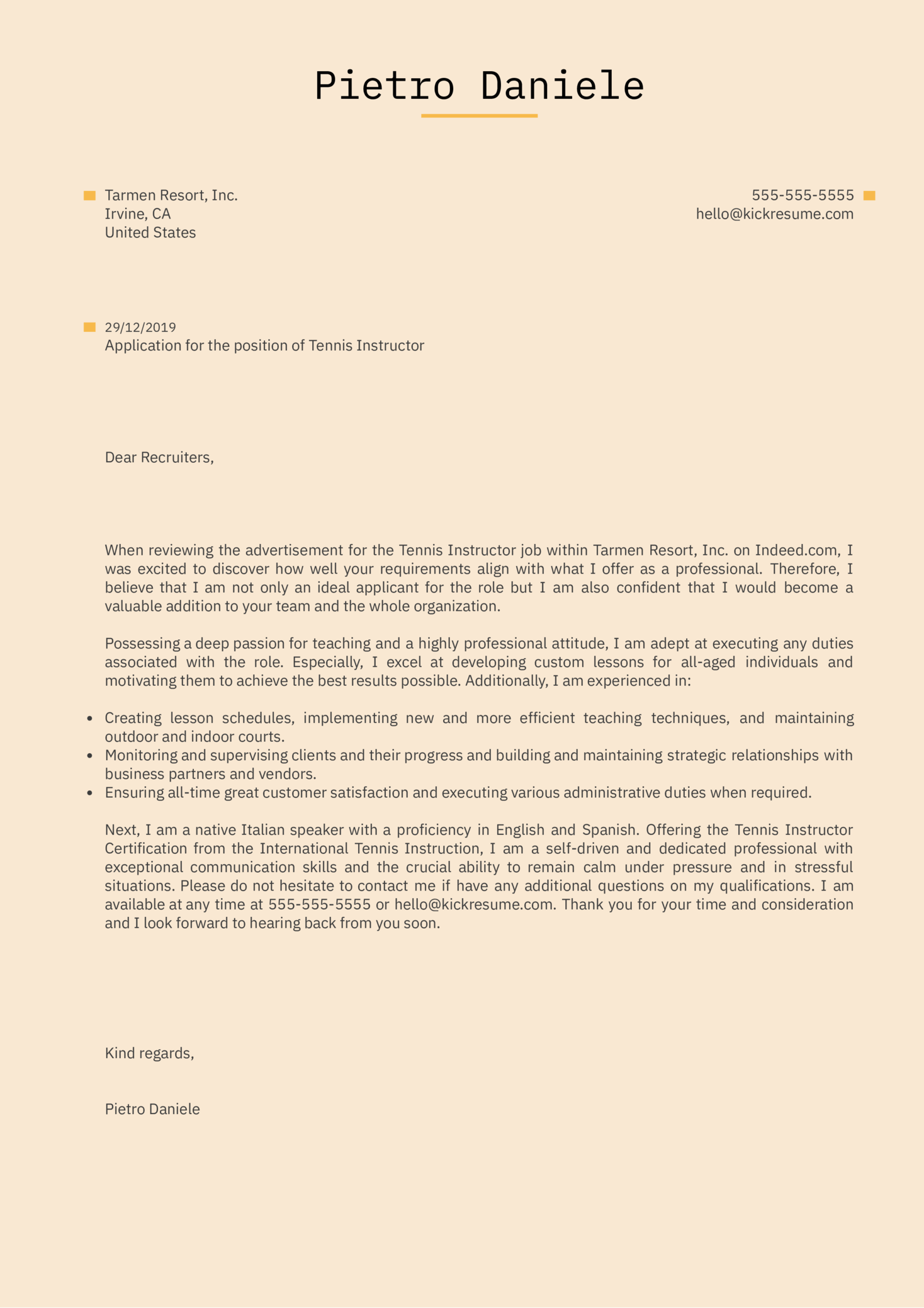 Tennis Instructor Cover Letter Example