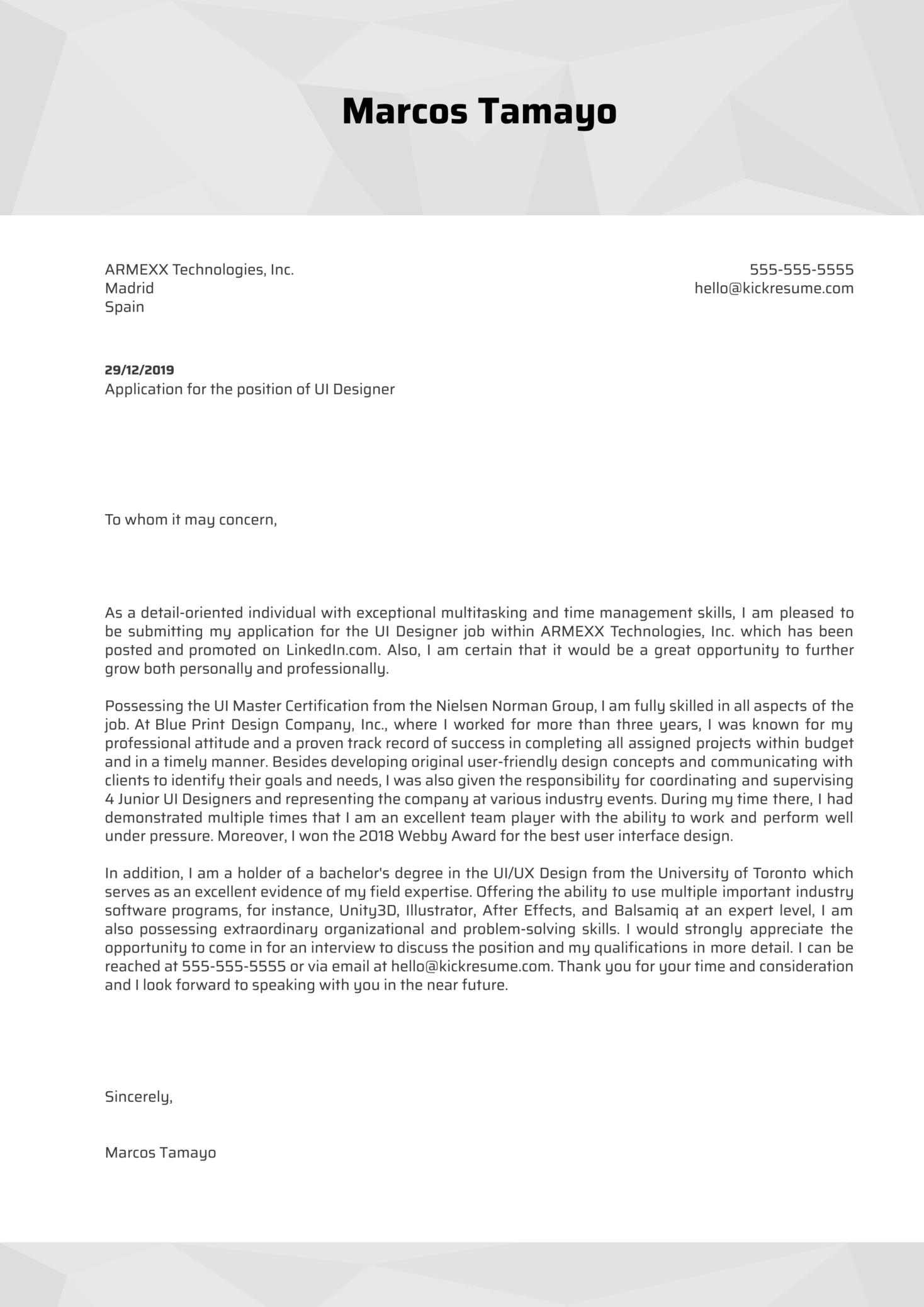 UI Designer Cover Letter Sample