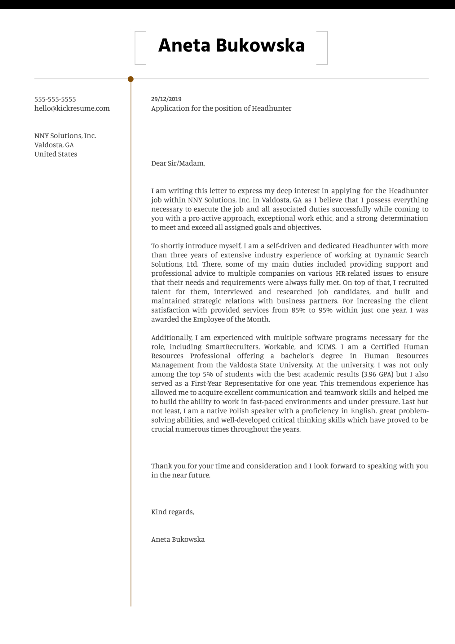 Headhunter Cover Letter Example