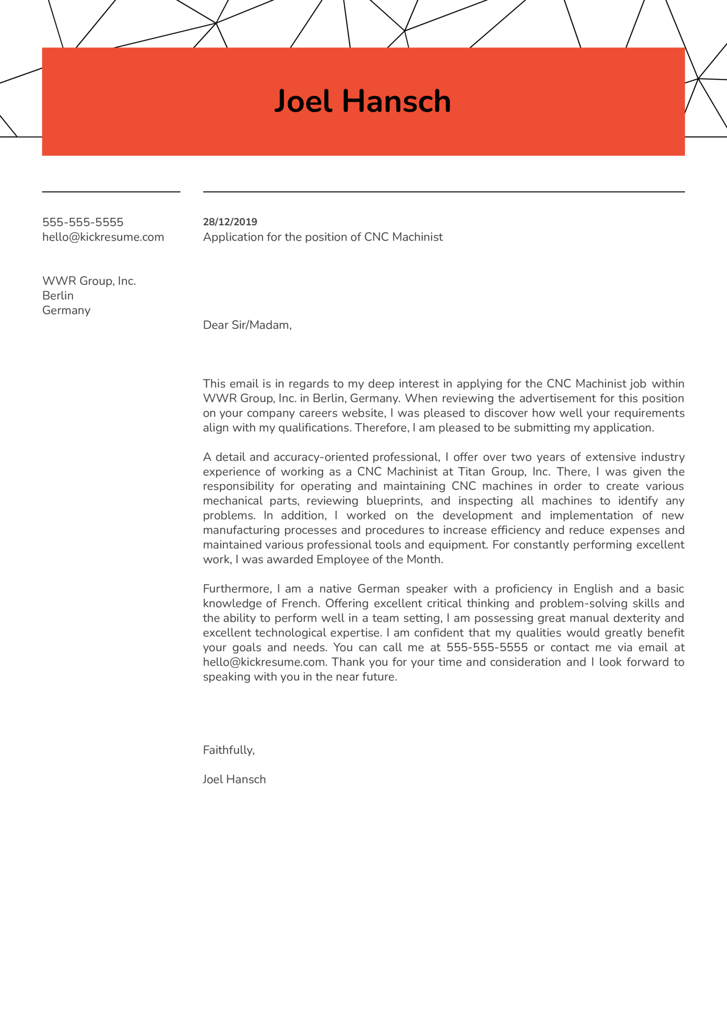 CNC Machinist Cover Letter Example