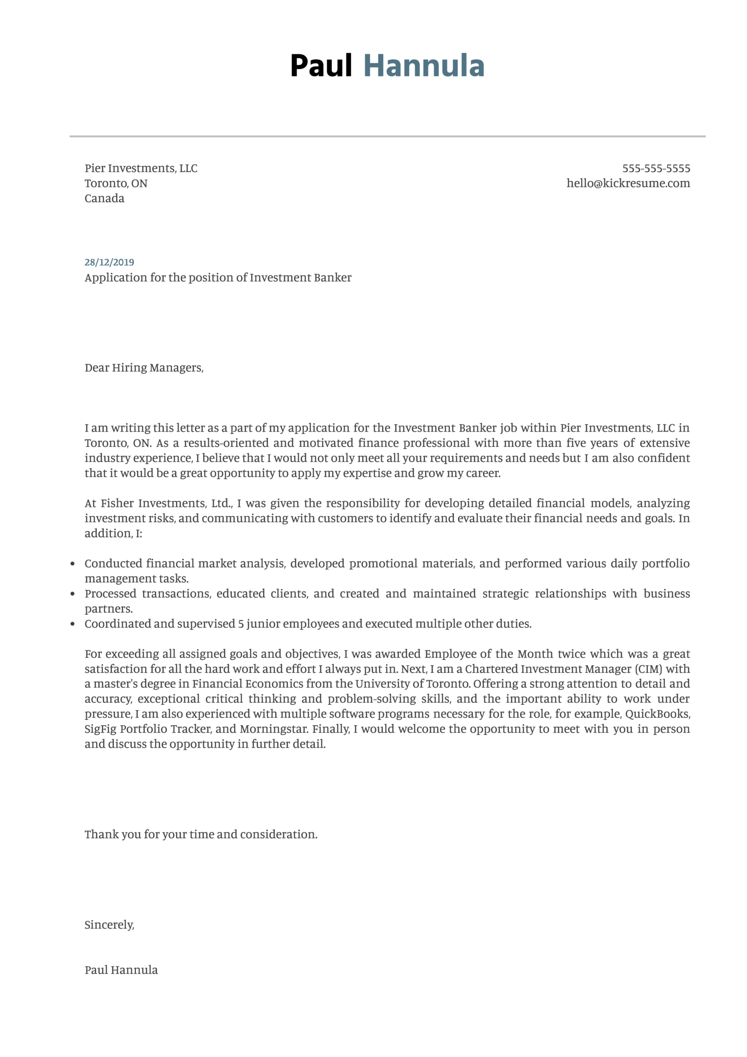 Investment Banker Cover Letter Sample