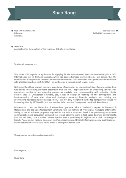 International Sales Representative Cover Letter Example