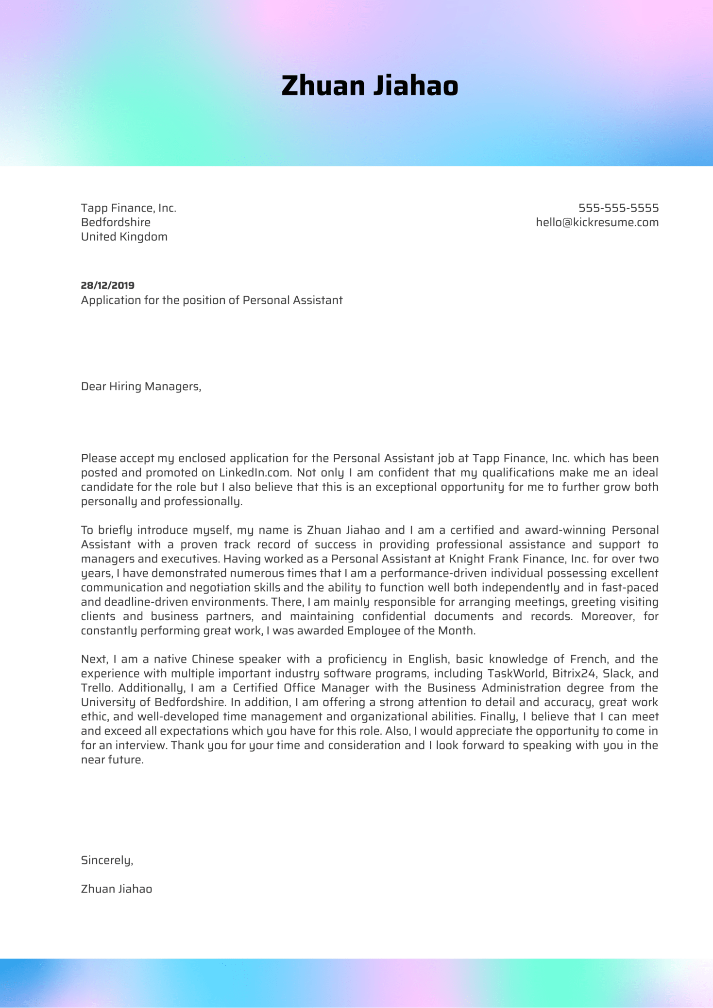 Personal Assistant Cover Letter Example