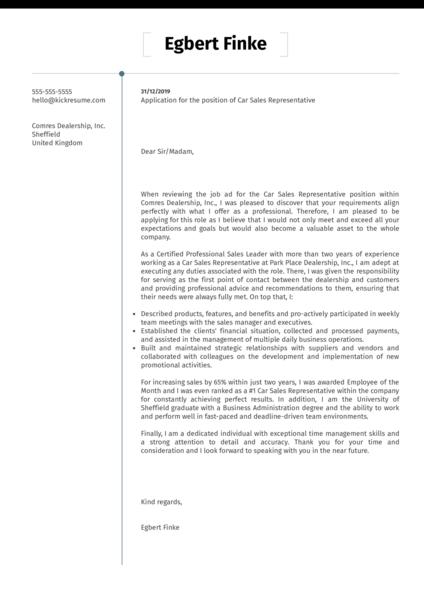 Car Sales Representative Cover Letter Sample