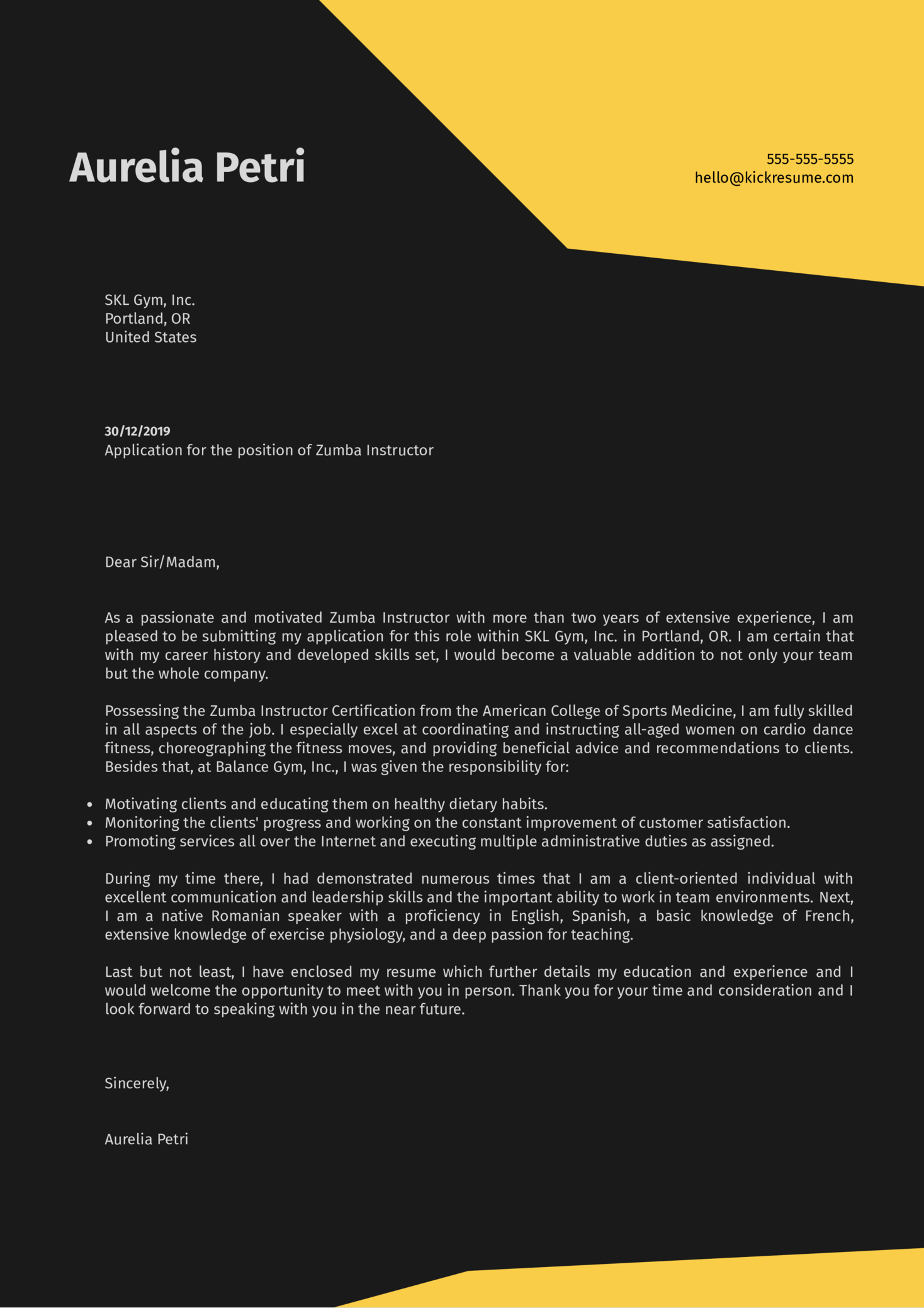 Zumba Instructor Cover Letter Sample