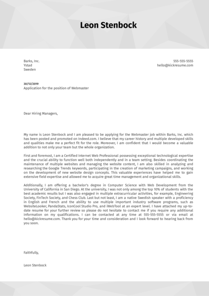 Webmaster Cover Letter Sample