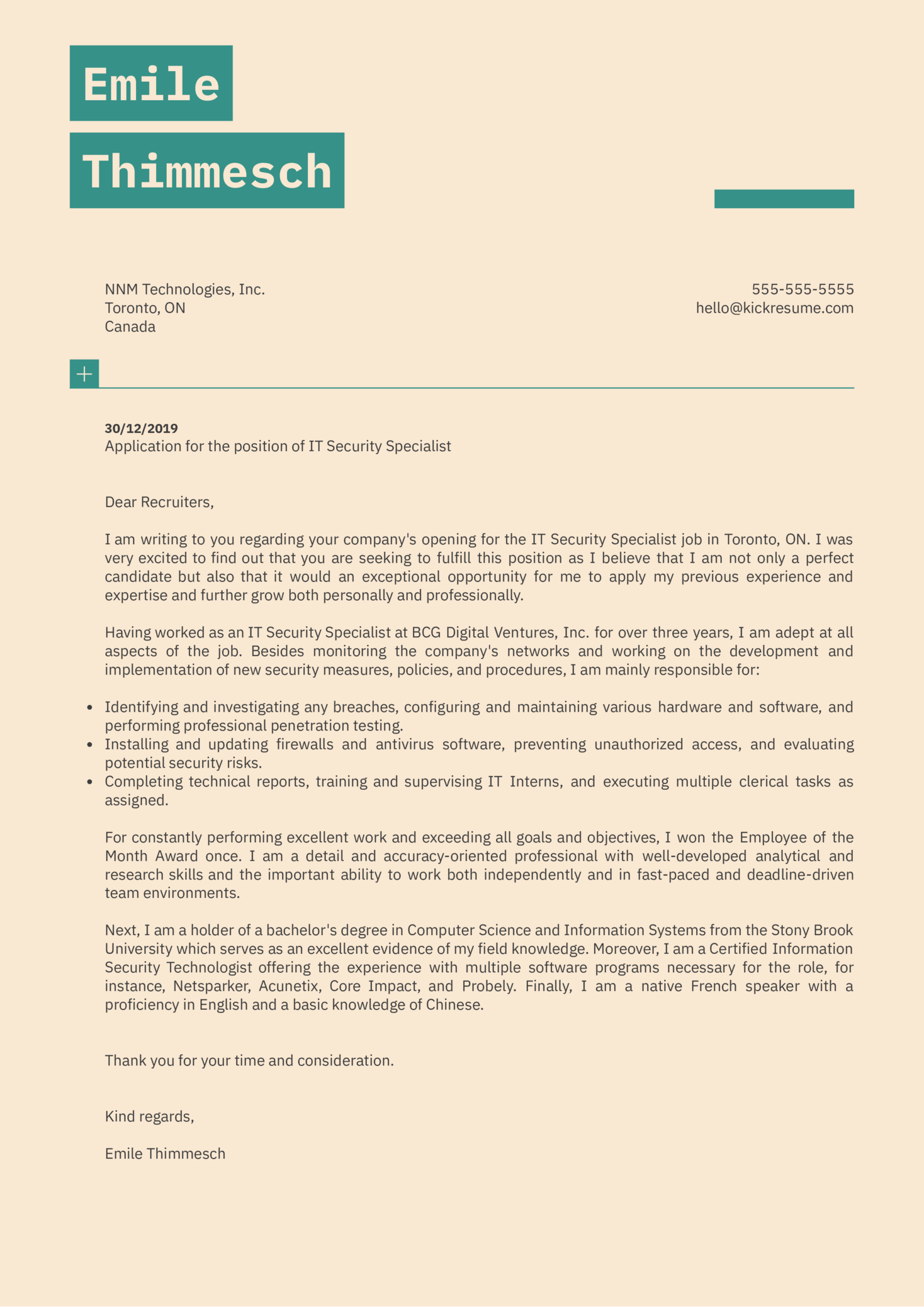 IT Security Specialist Cover Letter Sample