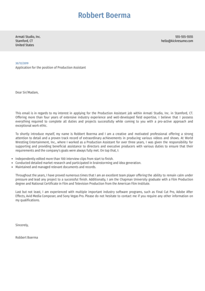 Production Assistant Cover Letter Example