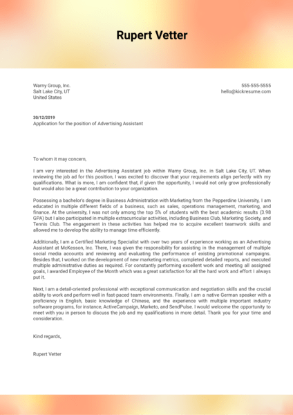 Advertising Assistant Cover Letter Sample