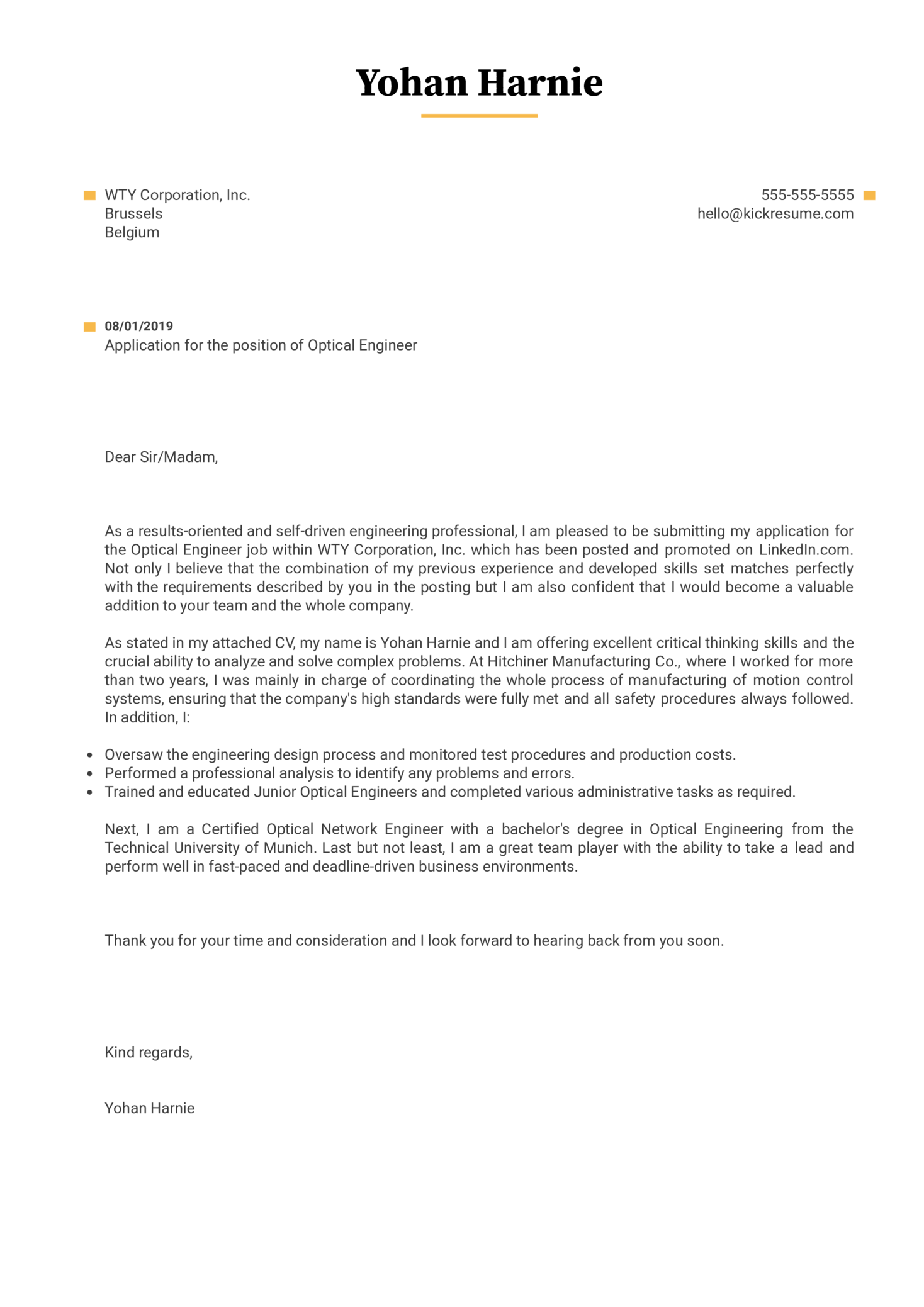 Optical Engineer Cover Letter Example
