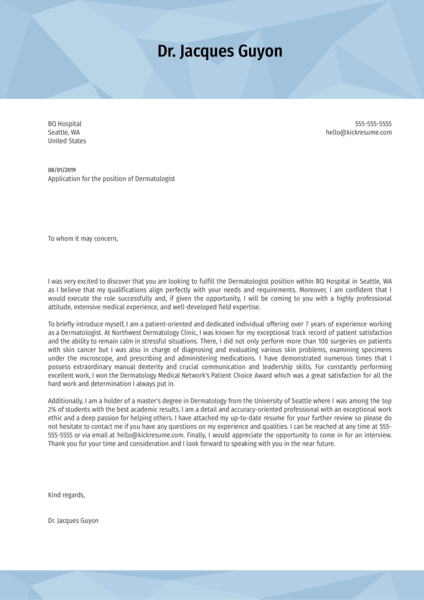 Dermatology Cover Letter Template