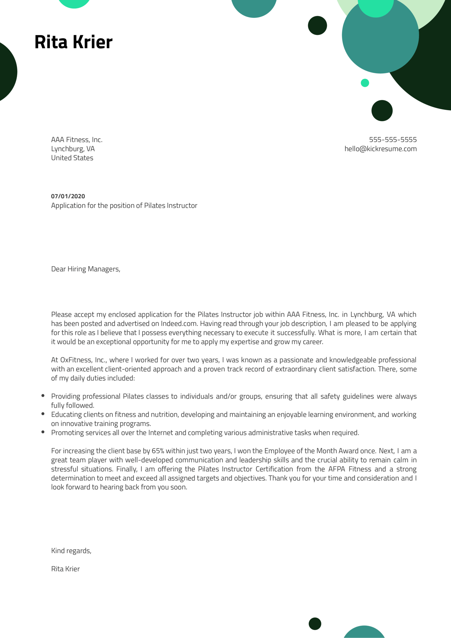 Pilates Instructor Cover Letter Example