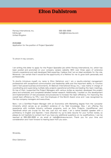 Project Specialist Cover Letter Sample