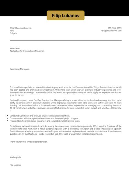Foreman Cover Letter Sample