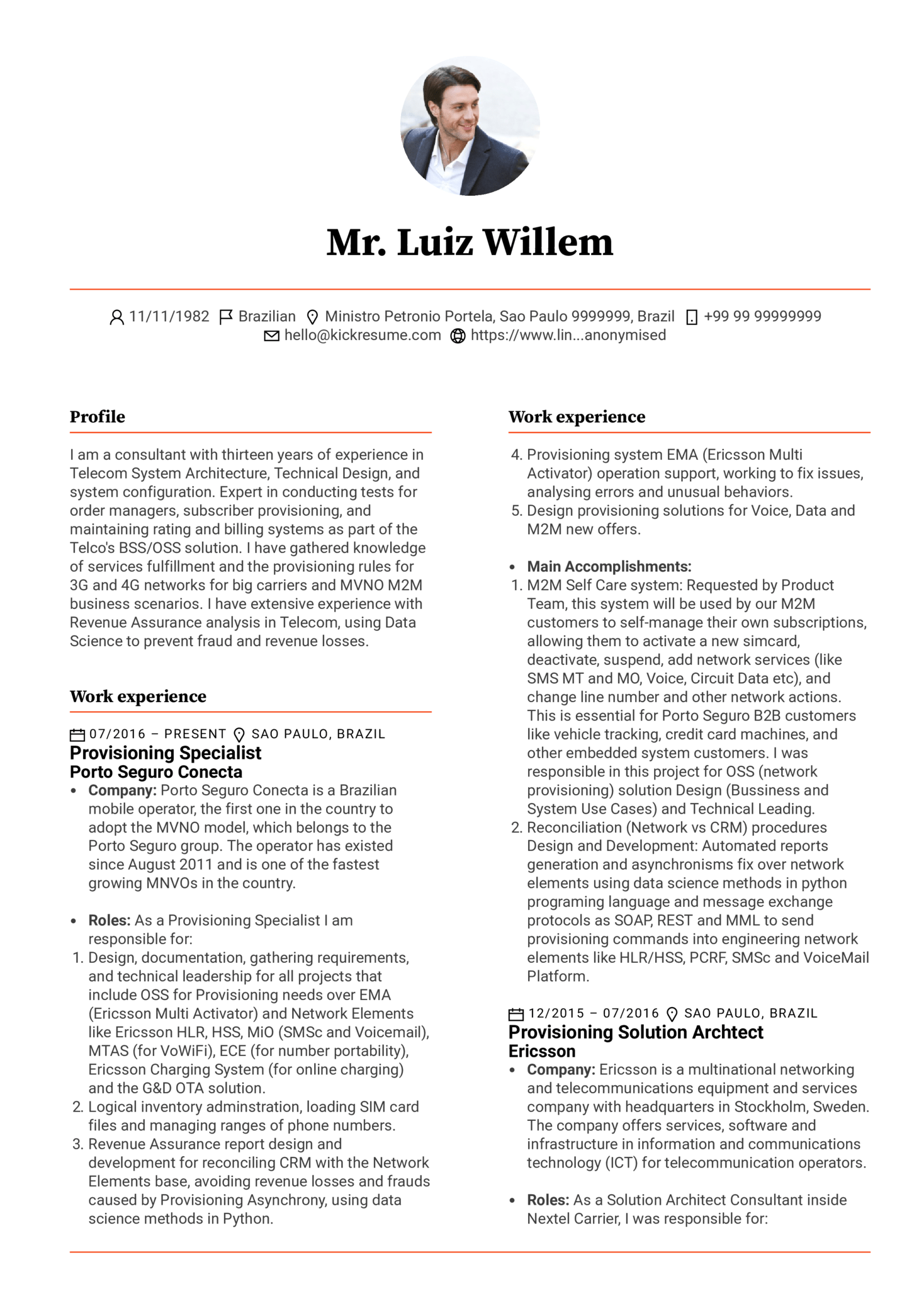 Provisioning Specialist Resume Example (Part 1)