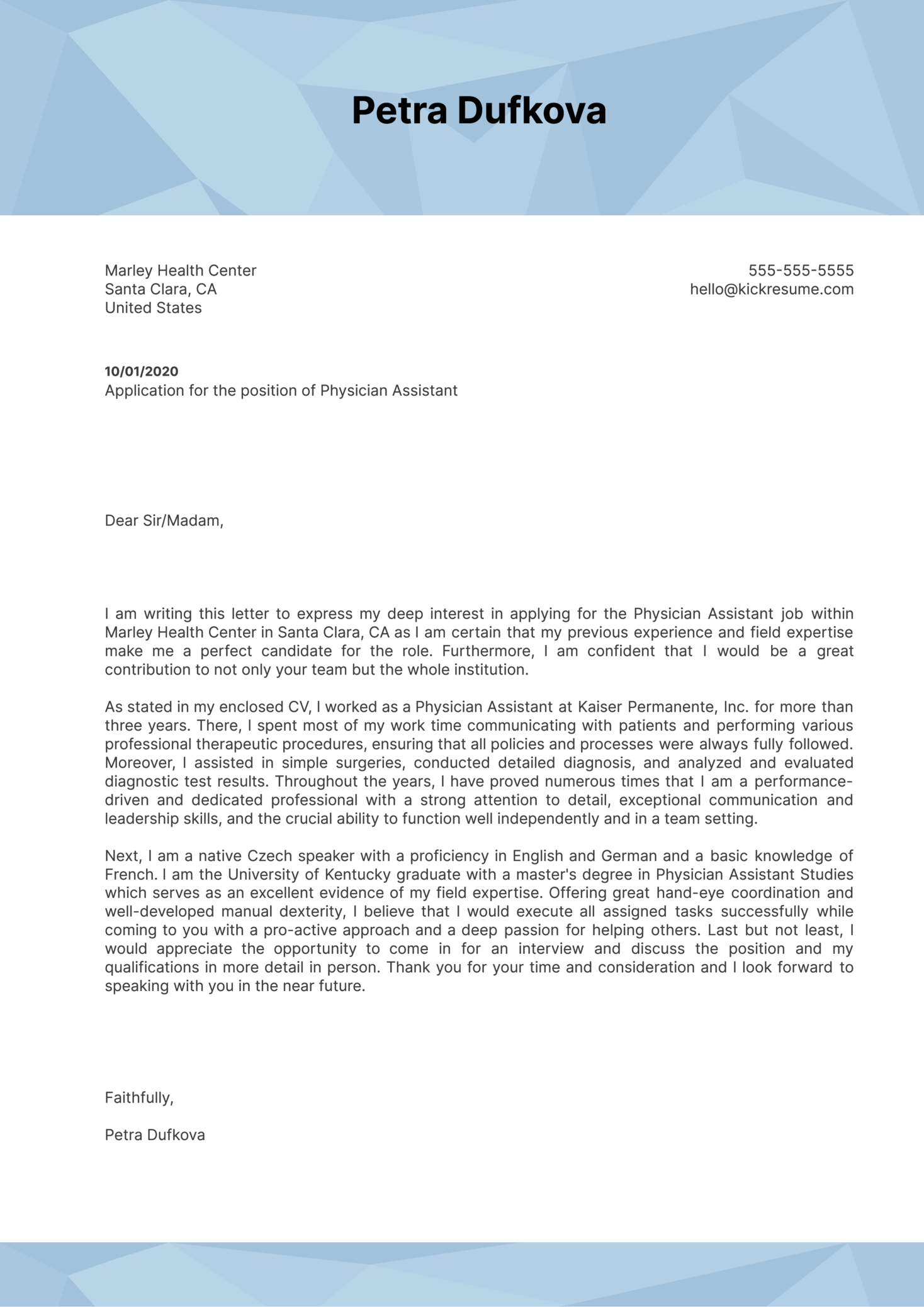 Physician Assistant Cover Letter Example