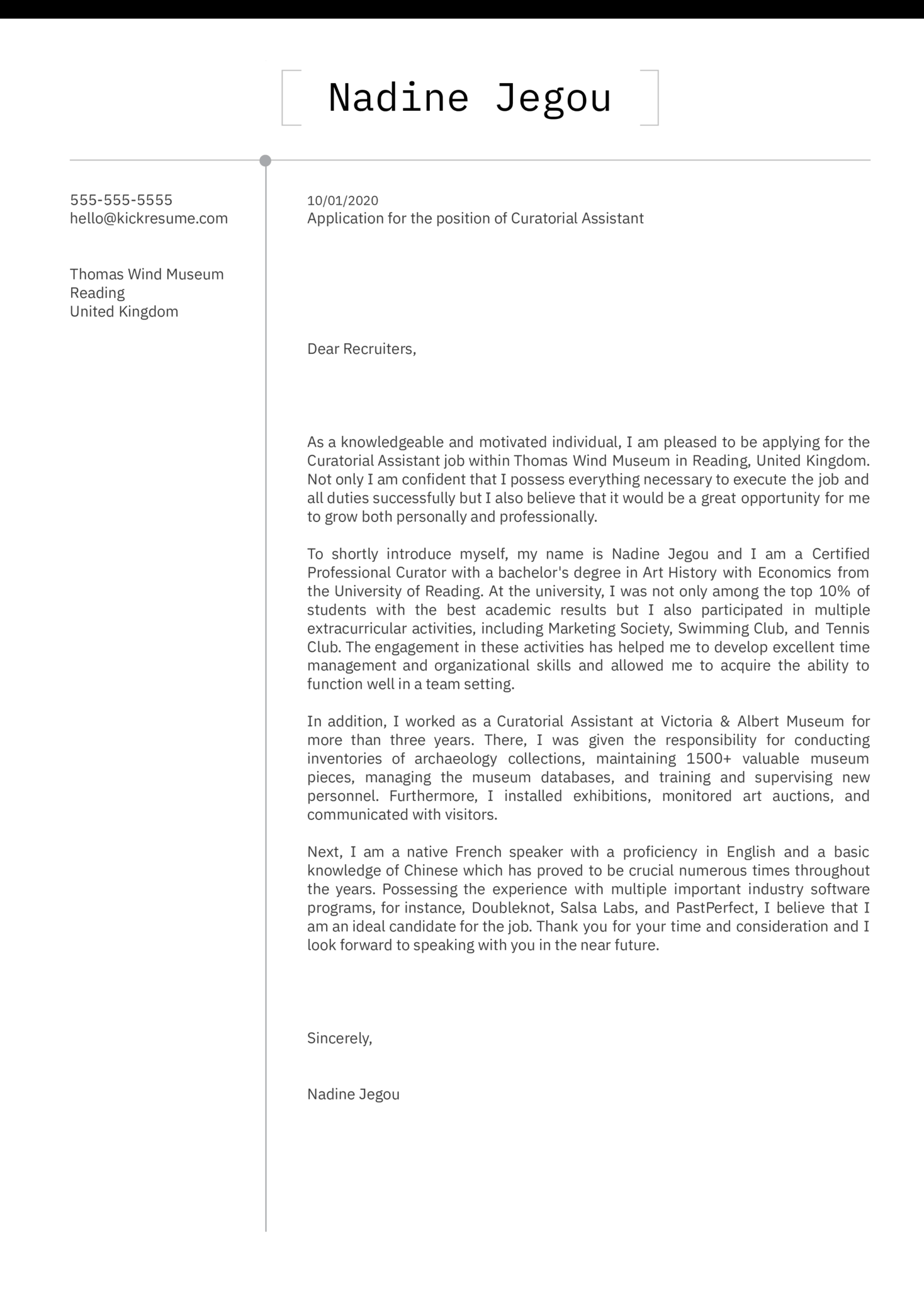Curatorial Assistant Cover Letter Sample