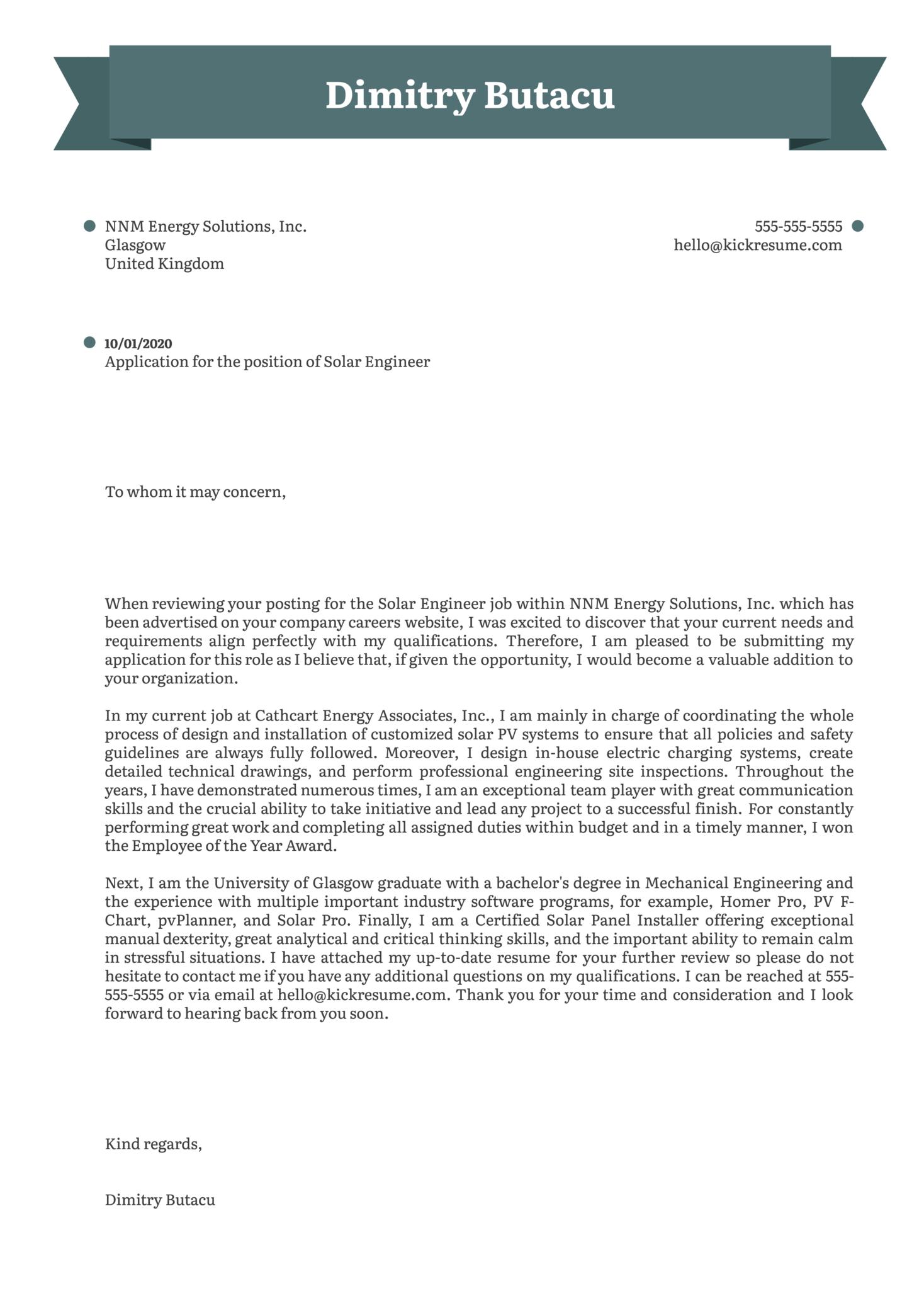 Solar Engineer Cover Letter Sample