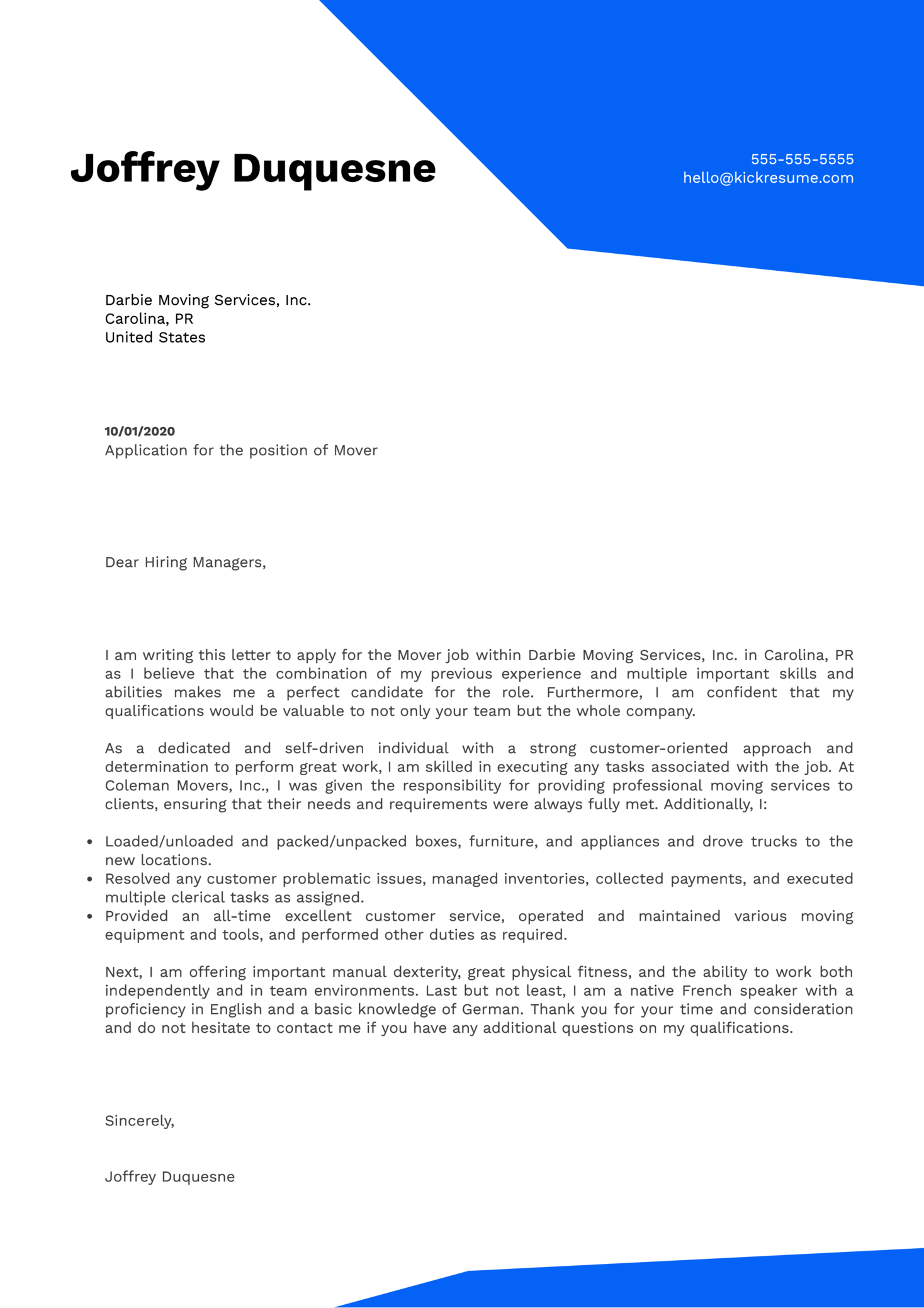 Mover Cover Letter Example