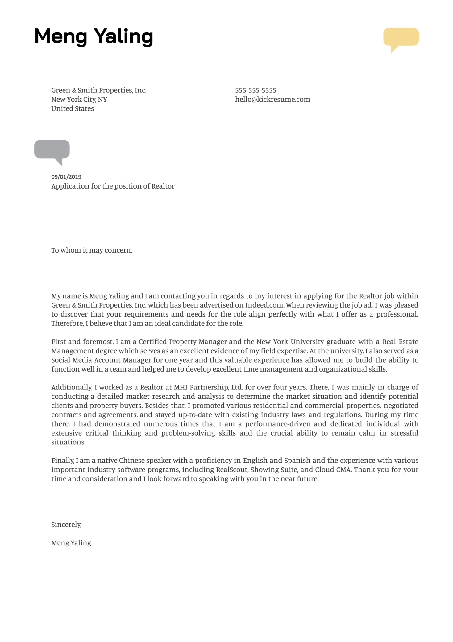 Realtor Cover Letter Example