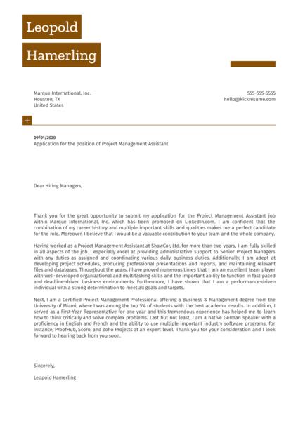 Project Management Assistant Cover Letter Sample