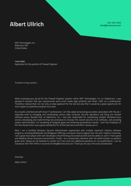 Firewall Engineer Cover Letter Sample