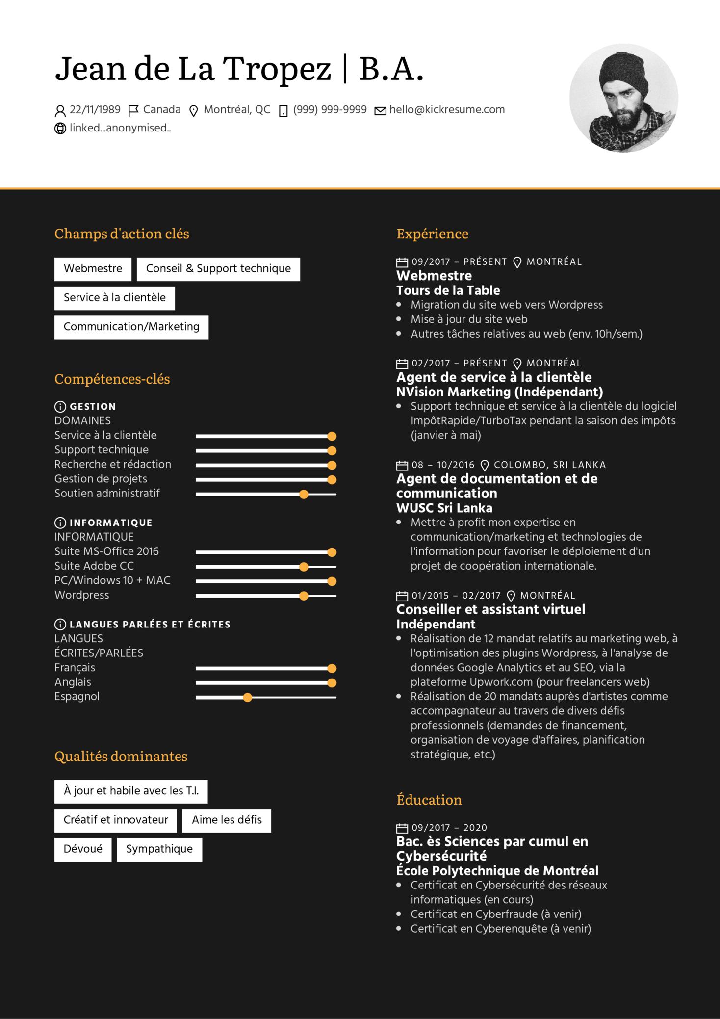 Webmaster/webmestre Resume Example [FR] (parte 1)