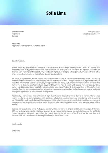 Medical Internship Cover Letter Example
