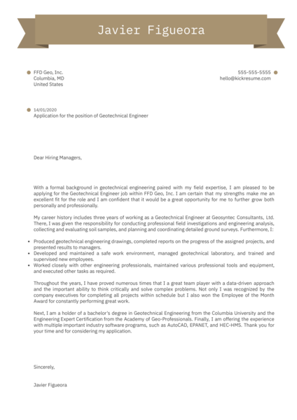 Geotechnical Engineer Cover Letter Sample