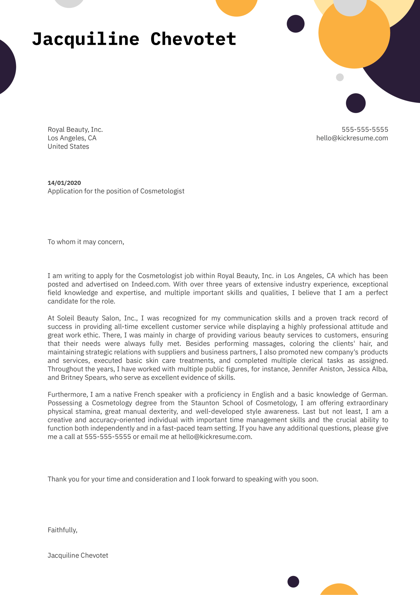 Cosmetologist Cover Letter Example
