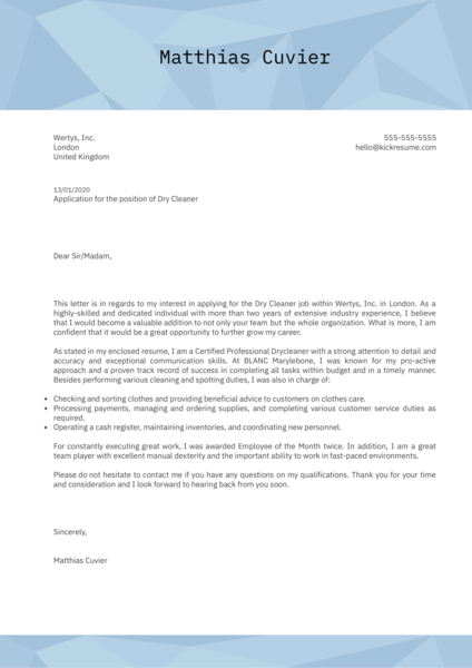 Dry Cleaner Cover Letter Example