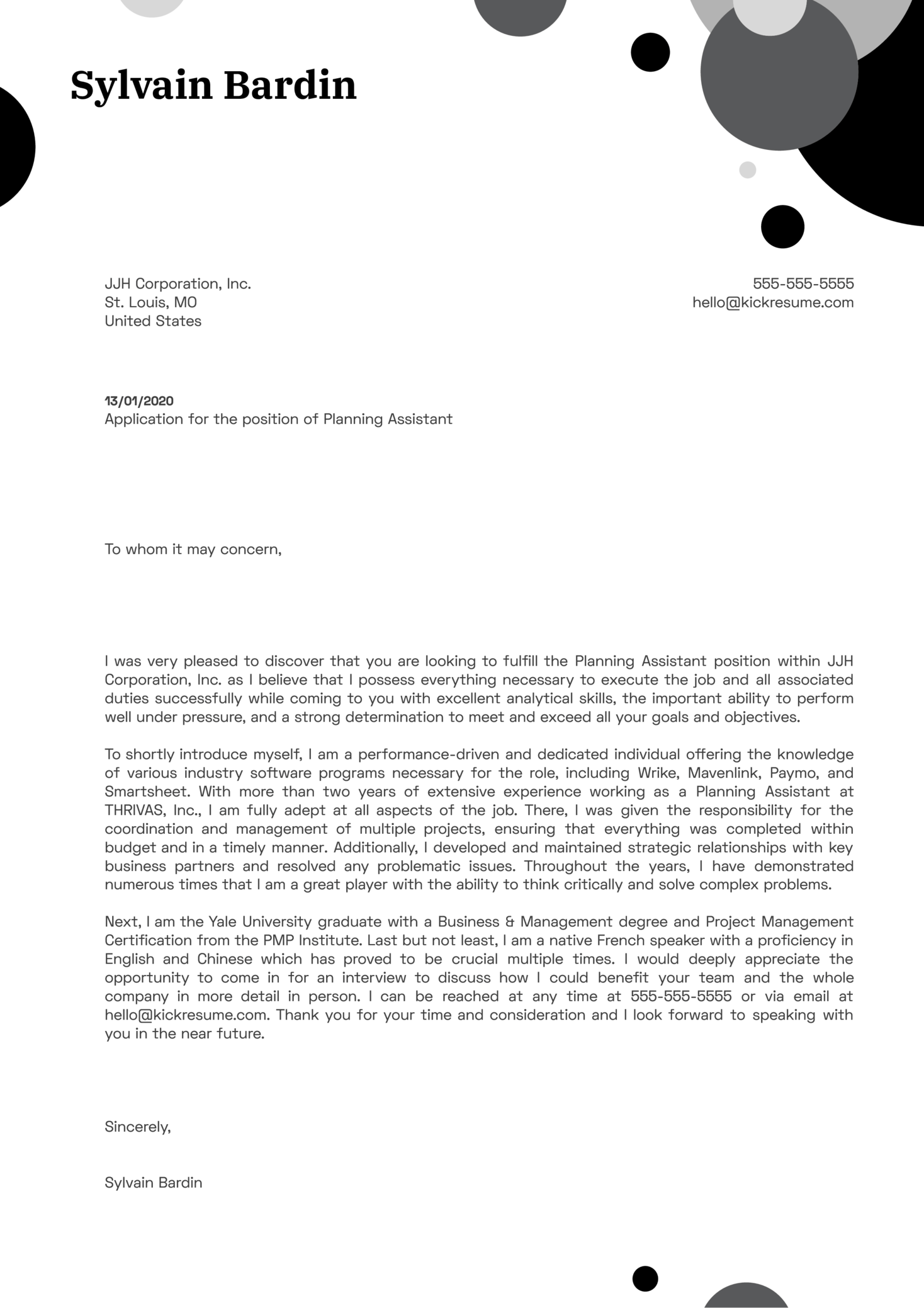 Planning Assistant Cover Letter Example