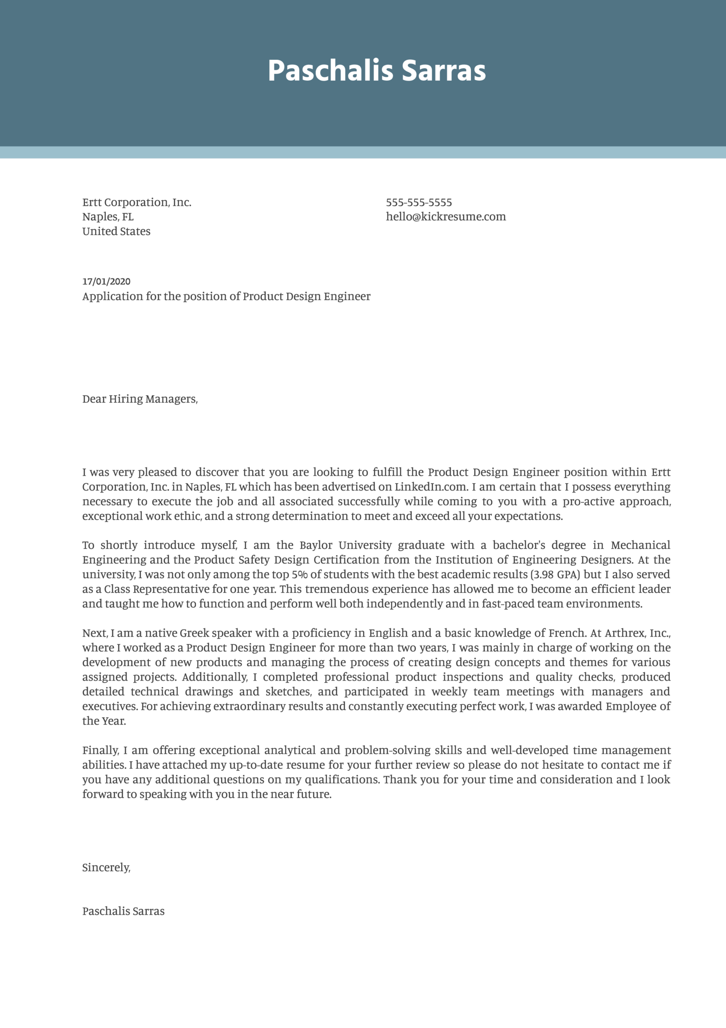 Product Design Engineer Cover Letter Example