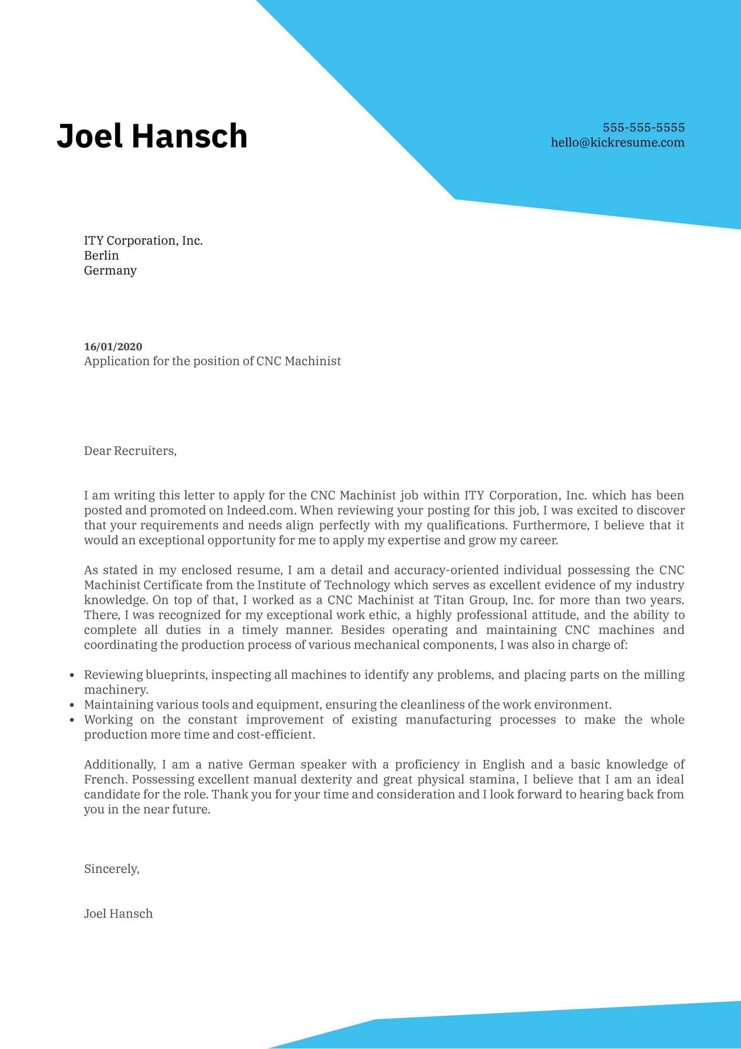 CNC Machinist Cover Letter Sample