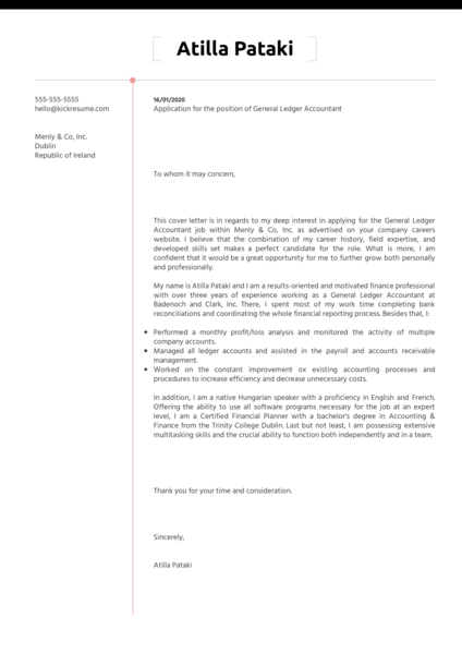 General Ledger Accountant Cover Letter Example