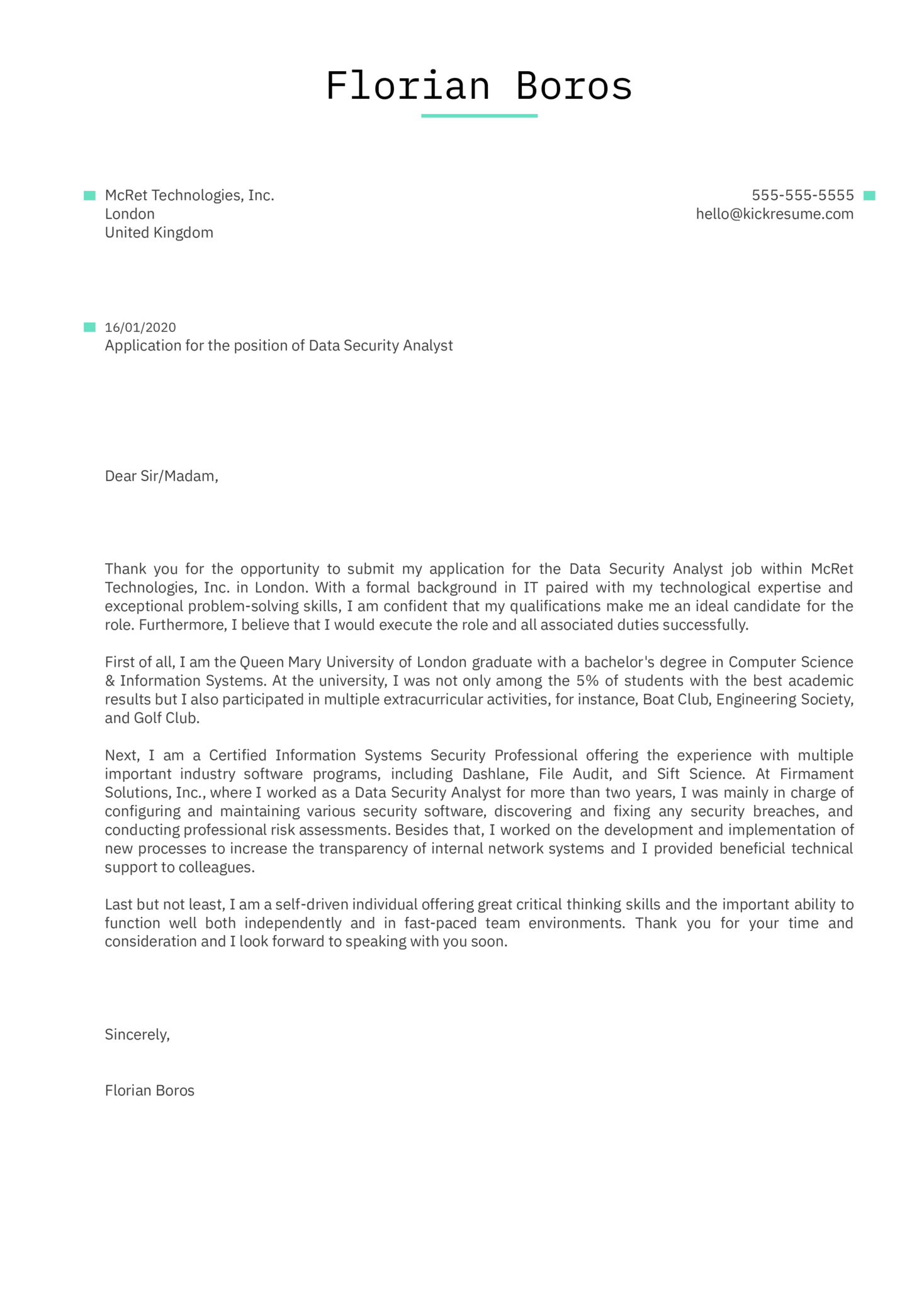 Data Security Analyst Cover Letter Sample