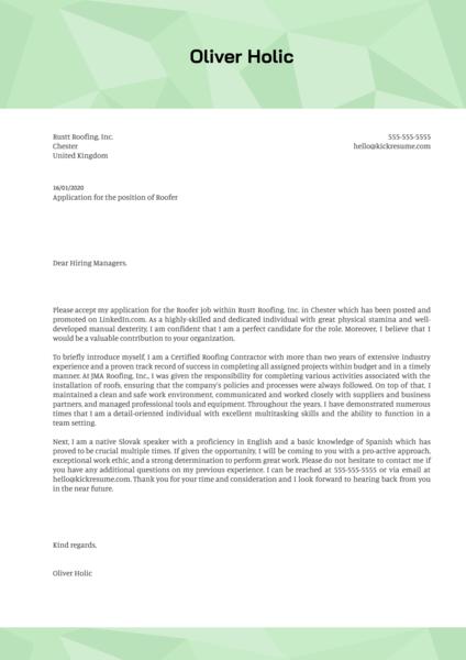 Roofer Cover Letter Sample