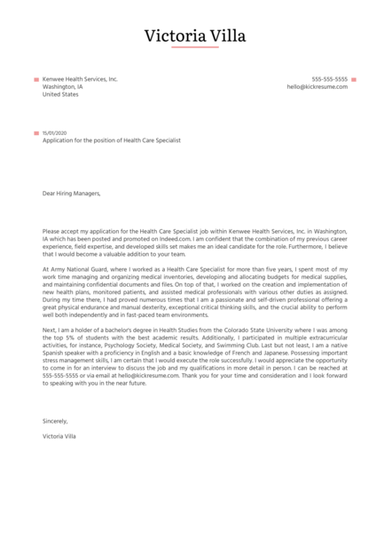 Healthcare Specialist Cover Letter Sample