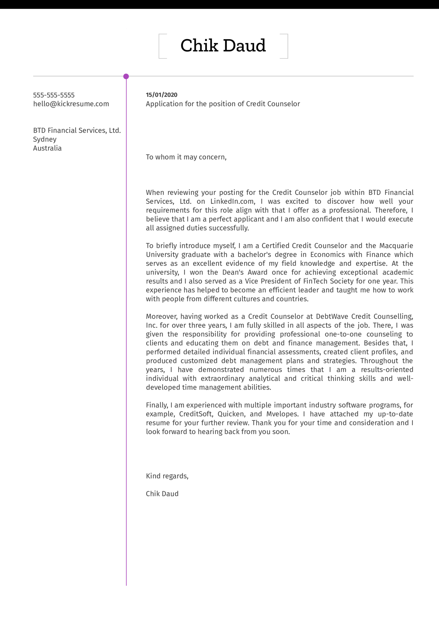 Credit Counselor Cover Letter Example