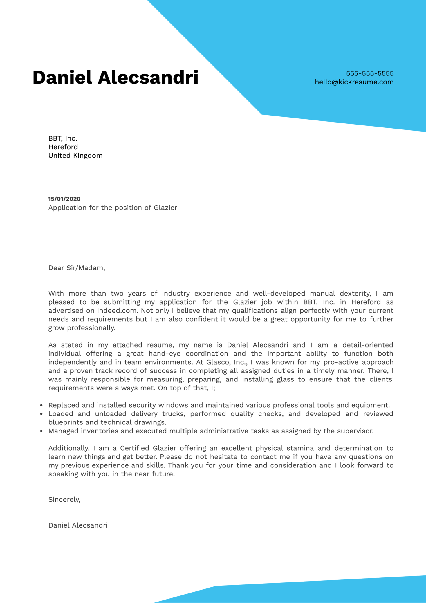 Glazier Cover Letter Example