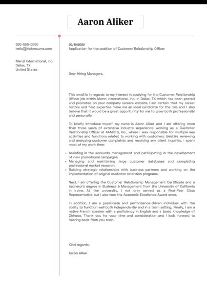 Customer Relationship Officer Cover Letter Sample