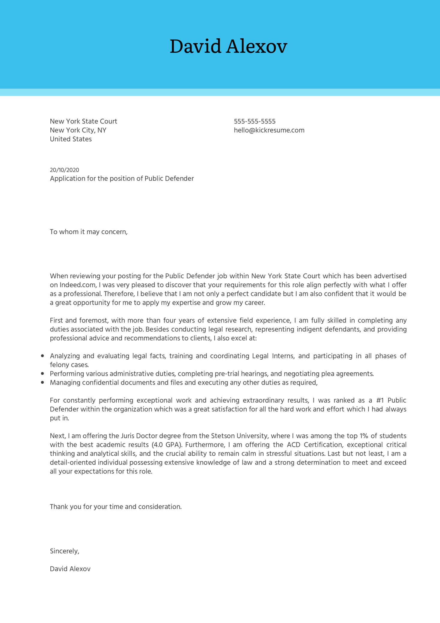 Public Defender Cover Letter Example